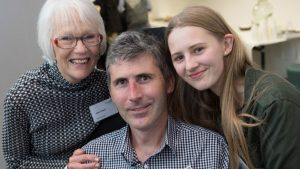 Janet Nash from MND Australia, Associate Professor Justin Yerbury and Maddison Yerbury. Photo courtesy of MND Australia.