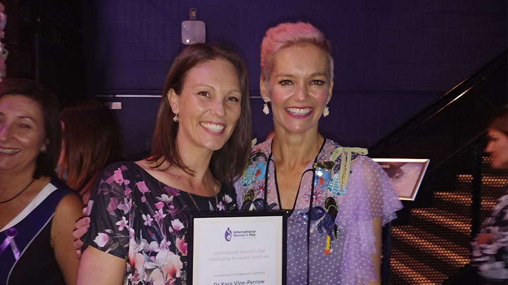 Dr Kara Vine-Perrow with TV presenter Jessica Rowe, who was the guest speaker at the International Women's Day Luncheon.
