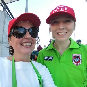 Volunteers at the 50-50 charity raffle at St.George Illawarra Dragons game at WIN Stadium