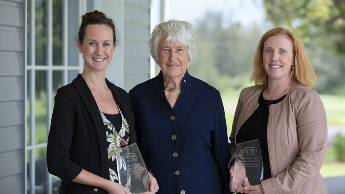 Dr Rebecca Stanley, Dame Bridget Ogilvie, and PhD candidate Kelly Lambert. Photo by Mark Newsham