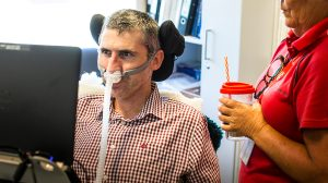 Associate Professor Justin Yerbury from UOW's School of Biological Sciences with carer, Jane Cohen. Photo by Paul Jones