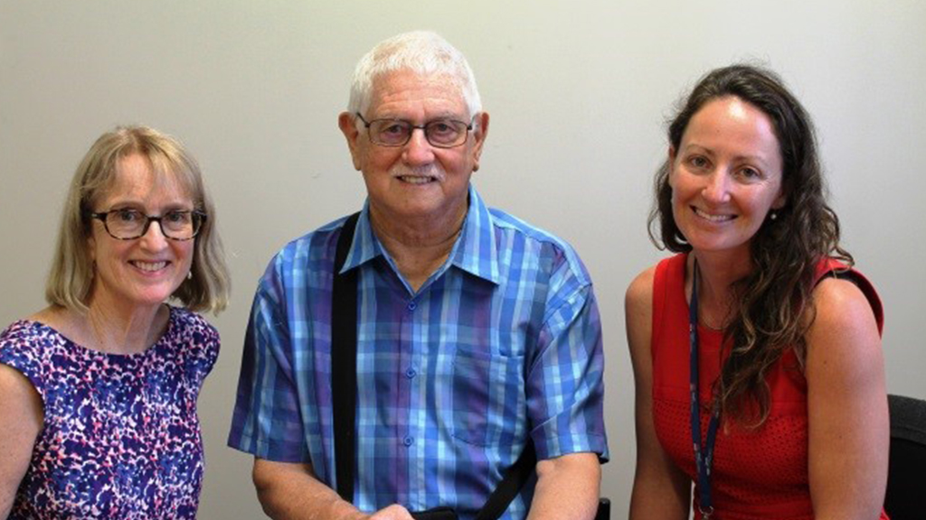Dr Susan Furber (Chief Investigator), Jon Roberts (pilot participant) and Karen Waller (DTEXT Program Manager and UOW PhD candidate). Photo supplied.