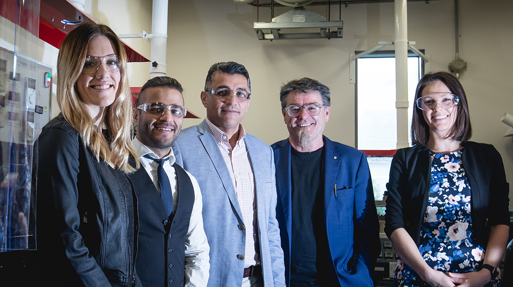 PhD candidates Samantha Wade and Sepehr Talebian, Dr Javad Foroughi, Distinguished Professor Gordon Wallace and Dr Kara Vine-Perrow. Photo by Alex Pike.
