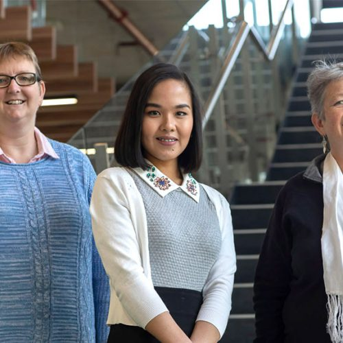 Professor Elizabeth Halcomb, PhD candidate Kaara Calma and Dr Moira Stephens from UOW's School of Nursing. Photo by Mark Newsham.