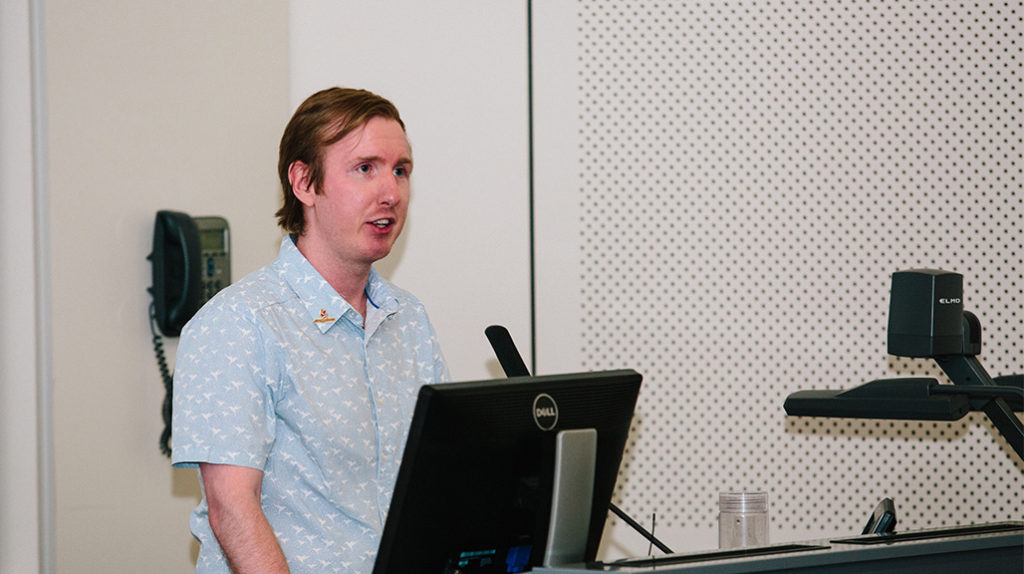 Dr Luke McAlary. MC of the MND Public Lecture. Photo by Trudy Simpkin.