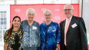 Dr Diane Ly, MC of the 2019 Lunch with Dame Bridget Ogilvie, IHMRI's Patron Dame Bridget Ogilvie AC, DBE, ScD, FRS, FAA, keynote speaker Professor Leann Tilley and Distinguished Professor David J. Adams, IHMRI's Executive Director and CEO. Photo by Trudy Simpkin.