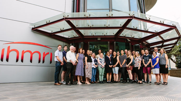 IHMRI researchers at the front of the IHMRI building. Photo by Trudy Simpkin.