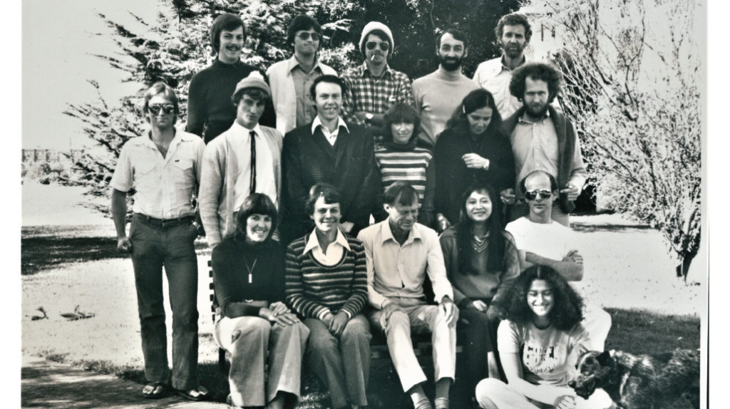 Linda Deitch and dog granite (lower right) with her biology colleagues in 1979.