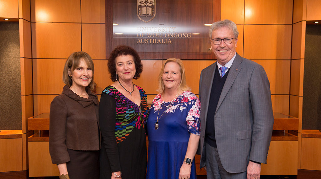 Dr Annette Wellings, Linda Deitch, Lorraine Denny and UOW Vice-Chancellor Professor Paul Wellings CBE at the celebration dinner . Photo by Sean Maquire.